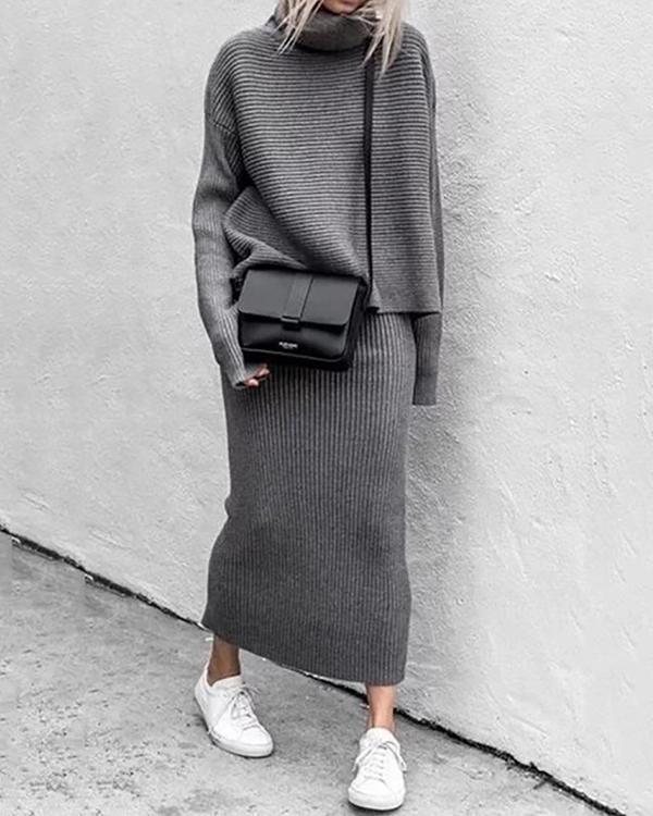 Fashion Solid Turtle Neck Sweater Skirt Set