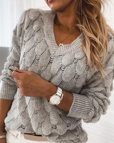 Three-dimensional Knitted Feather Hollow V-neck Long Sleeve Sweater