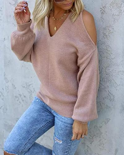 Sexy Off-shoulder V-Neck Loose Blend Sweater