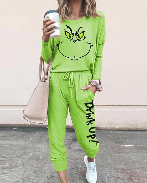 Christmas Grinch Stole Print T-shirt With Pants Tracksuits Two-pieces Set