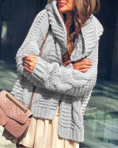 Women Pure Color Cable Knit Chunky Hooded Sweater Cardigan