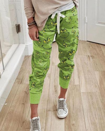 Christmas Printed Paneled Self-tie Pants