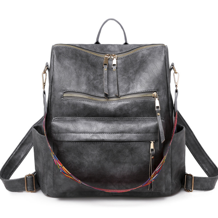 Woman Stylish Simple Leather Backpack