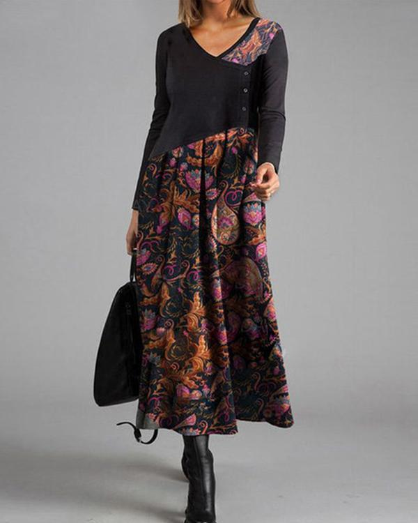 Elegant Floral V-Neckline Maxi A-line Dress