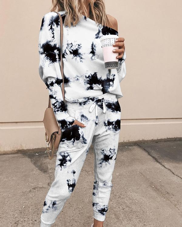 Print Casual Off Shoulder Two-Piece Set