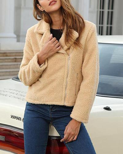 Women Solid Zipper Warm Coat