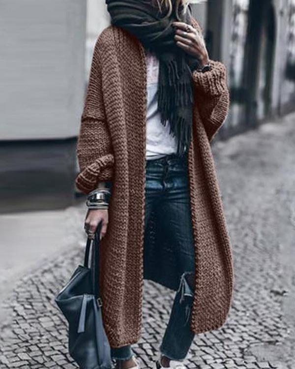 Casual Loose Long-Sleeved Knitted Cardigan
