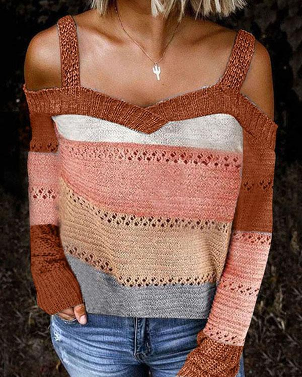 Cold Shoulder Knitted Casual Sweater