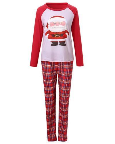 Mom's Cotton Christmas Santa Claus Plaid Parent-Child Loungewear