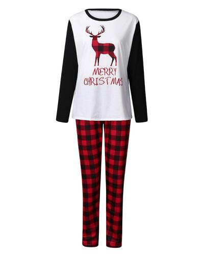 Mom's Cotton Elk Plaid Parent-Child Family Christmas Loungewear