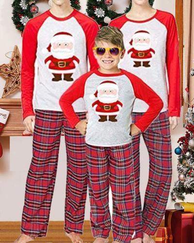 Kid's Cotton Christmas Santa Claus Plaid Parent-Child Loungewear