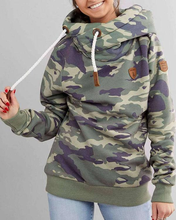 Army Green Long Sleeve Cotton-blend Hoodie Sweatshirt