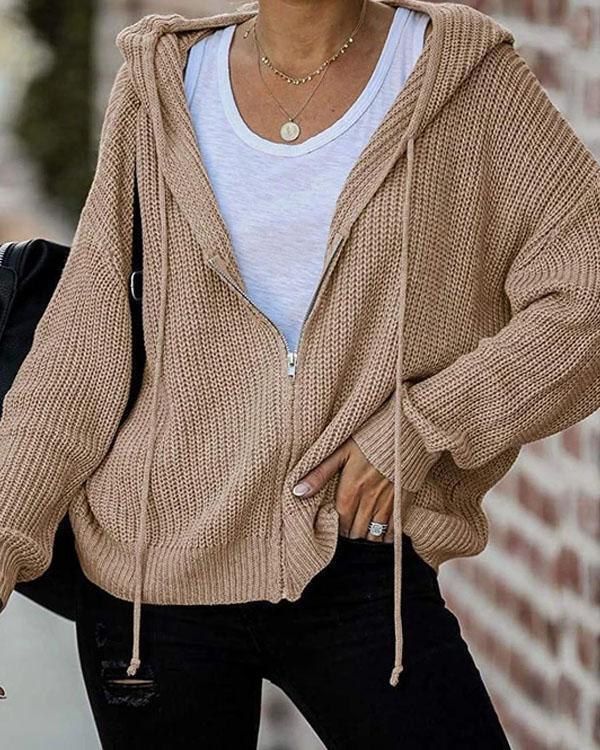 Zip Up Hoodie Long-sleeve Sweater Cardigan