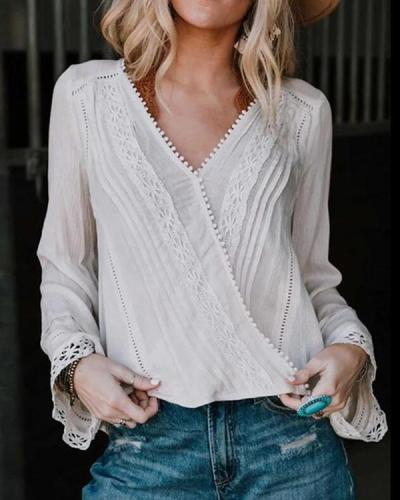 Bohemian Floral Lace Patchwork Casual Shirts Blouses