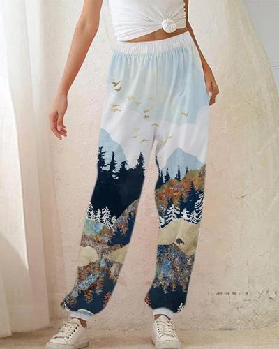 Retro Artistic Landscape Nature Mountain Forest Print Elastic Pants