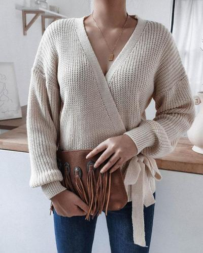 Women's Fashion V-neck Lace up Plain Color Sweater
