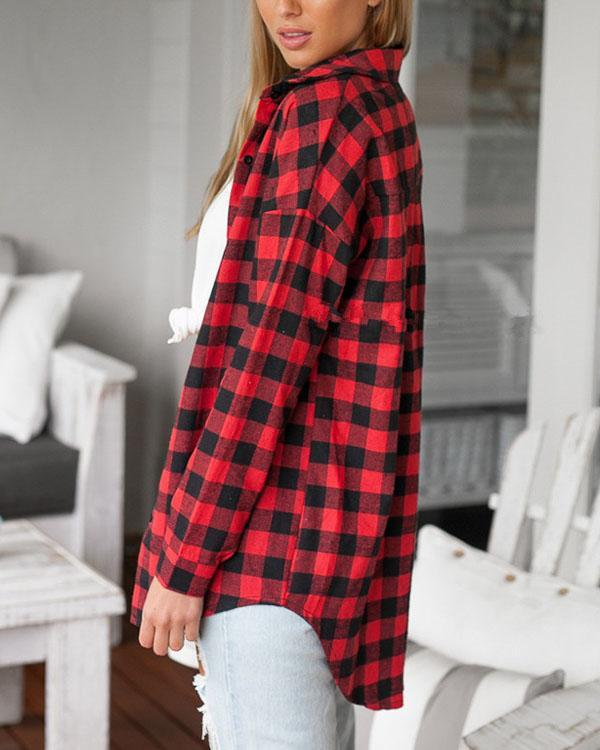 Women's Cotton Red Plaid Pockets Loose Shirts