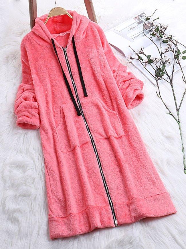 Long Sleeve Zipper Fluffy Faux fur Hoodie Coat