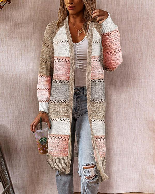 Women Color Block Casual Long Cardigan