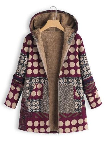Womens Polka Dot Print Patchwork Hooded Vintage Coats