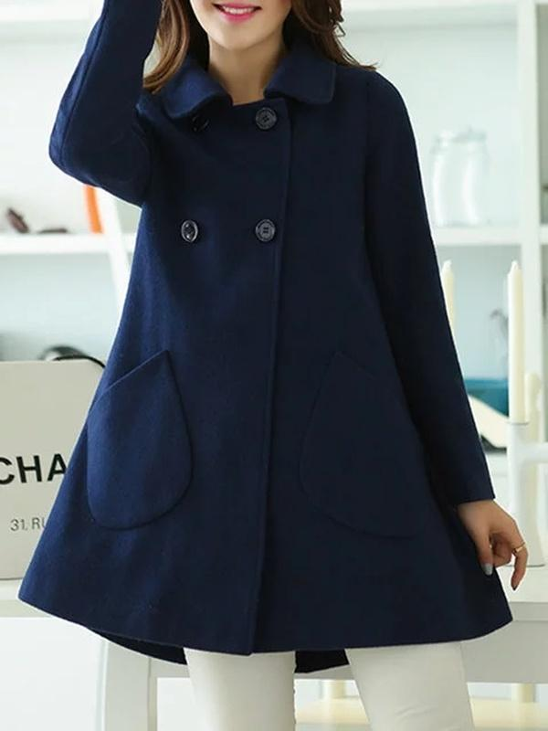 Yellow Buttoned Long Sleeve Coat