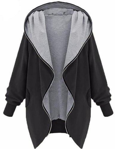 Long Sleeve Plain Casual Pockets Plus Size Coat