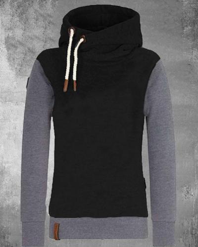 Color Contrast Cotton-blend Hoodie Sweatshirt