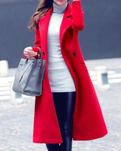 Lapel Plain Pocket Longline Woolen Coat