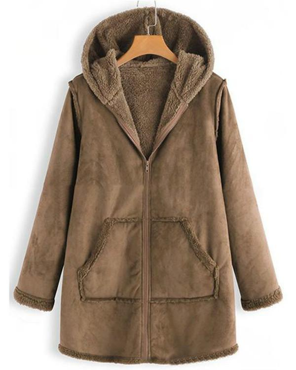 Long Sleeve Solid Casual Hoodie Coats