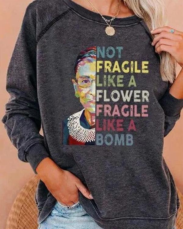 Women Casual Letter Printed Long Sleeve Tops