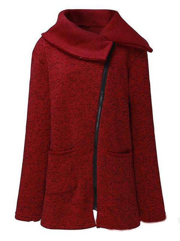 Paneled Solid Cotton Winter Plus Size Zipper Teddy Bear Coat
