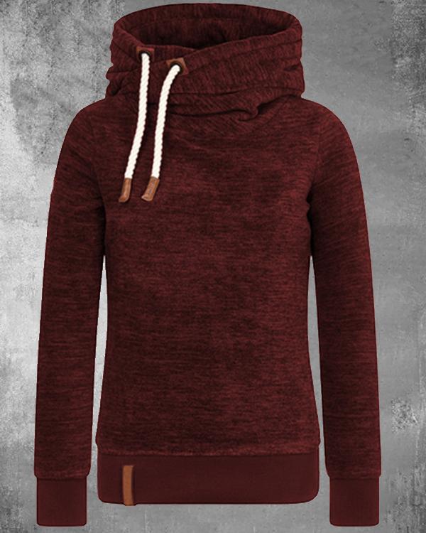 Variegated Cotton-blend Fleece Hoodie Sweatshirt