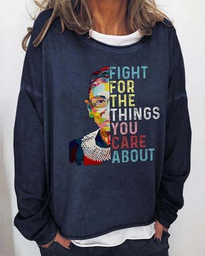 Women Printed Long Sleeve Crew Neck Casual Sweatshirts