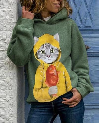 Cartoon Cat Print Long Sleeve Casual Hoodie For Women