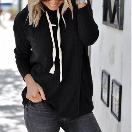 Hooded Plain Long Sleeve Lace Up Hoodies