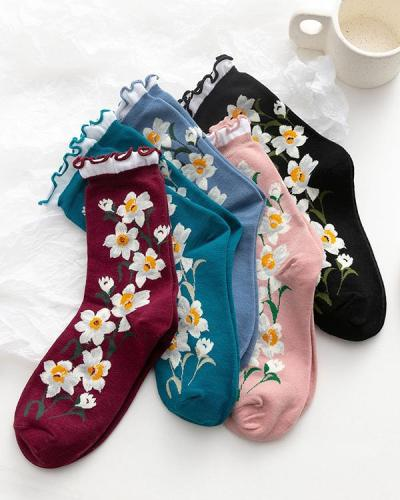 Autumn And Winter In Tube Florets Roll - Up Female Socks