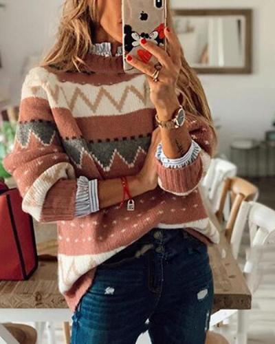 Women's Fashion Geometric Print Sweater