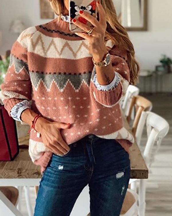 Women's Fashion Geometric Print Sweater
