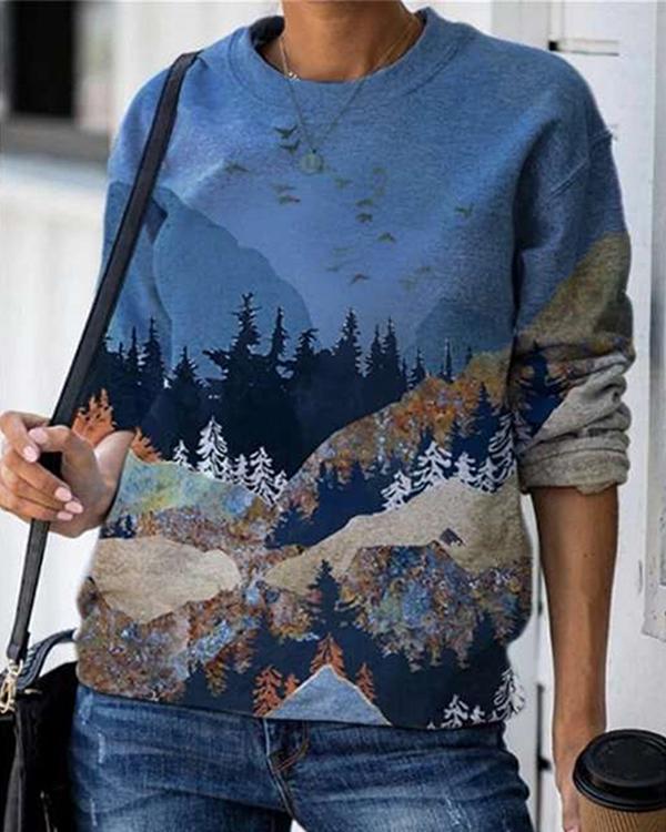Landscape Print O-neck Long Sleeve Casual Sweatshirt For Women