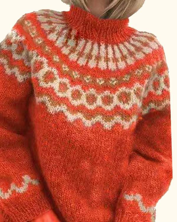Women's Fashion High Neck Boho Print Sweater