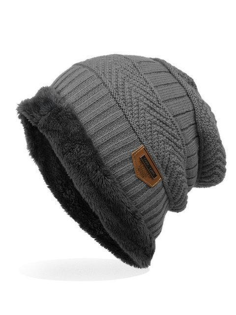 Mens Labeling Knitted Cap Velvet Wool Cap Hats