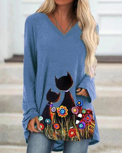 Women's Cartoon Cat  Print Long Sleeve T-Shirt