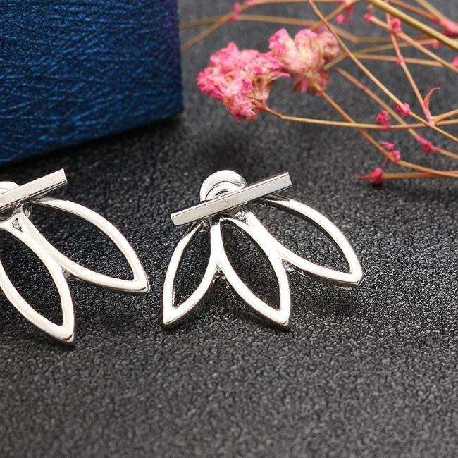 Alloy Double Side Earrings Leaf Flower Elegant Ear Stud Earring Fashoin Accessories