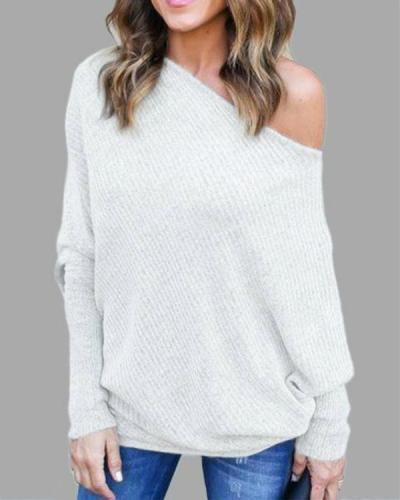 Lightweight Off Shoulder Bat Long Sleeves Loose Jumper Tops