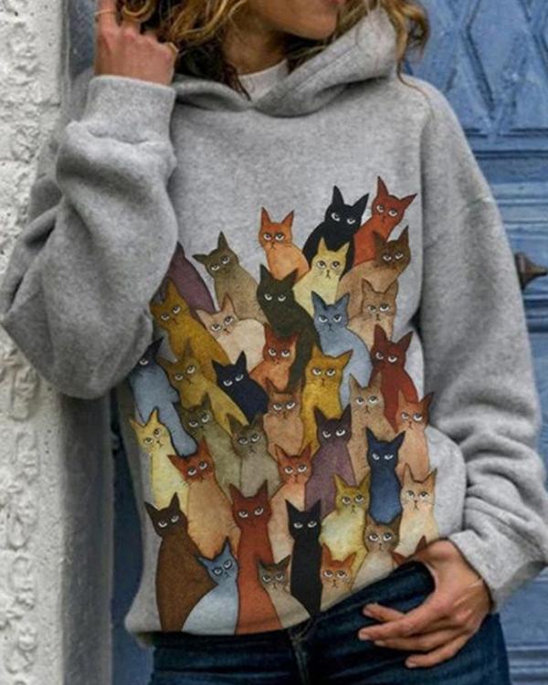 Cartoon Cats Print Long Sleeve Casual Hoodie For Women