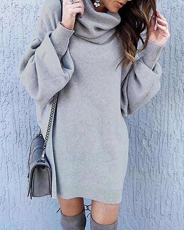 Casual Solid High Neck Loose Fit Lantern Sleeve Sweater Dress