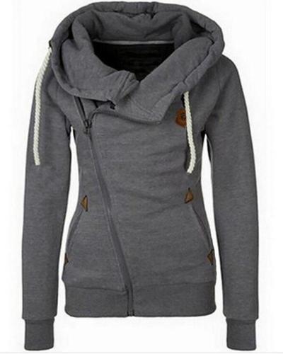 Women's Sports Personality Side Zipper Hooded Cardigan Sweater Jacket