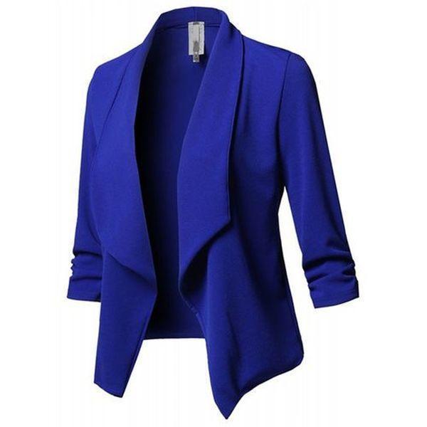 Women's Fahion Solid Color 3/4 Sleeve Open Blazer Jacket