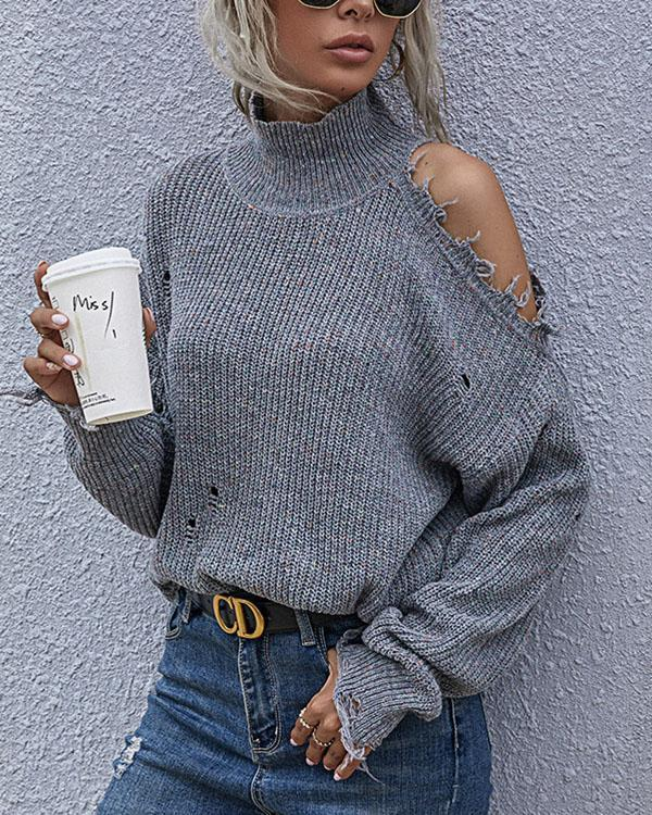 Women's Fashion Variegated Bat Sleeve Hollow Out Sweater