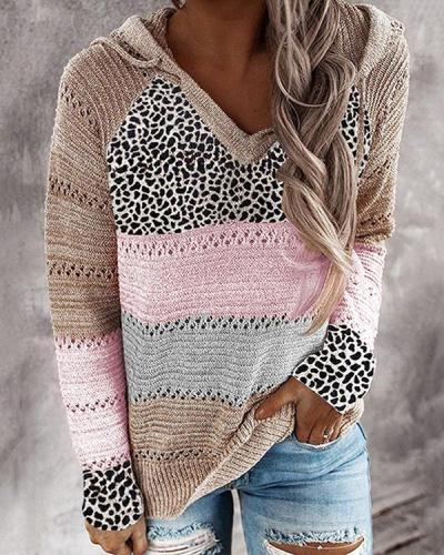 Long Sleeve V Neck Cotton-Blend Leopard Hooded Sweater